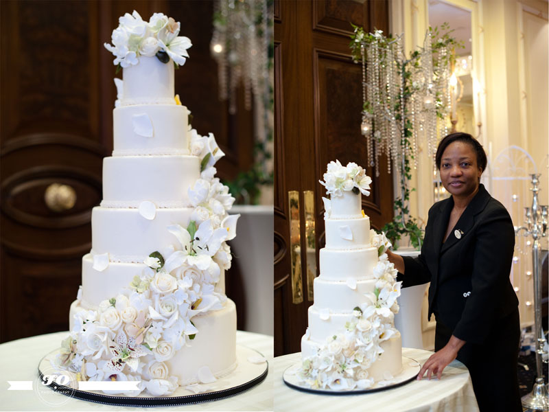 Luxury Wedding Show Elizabeth Solaru With Cascading Flowers Cake